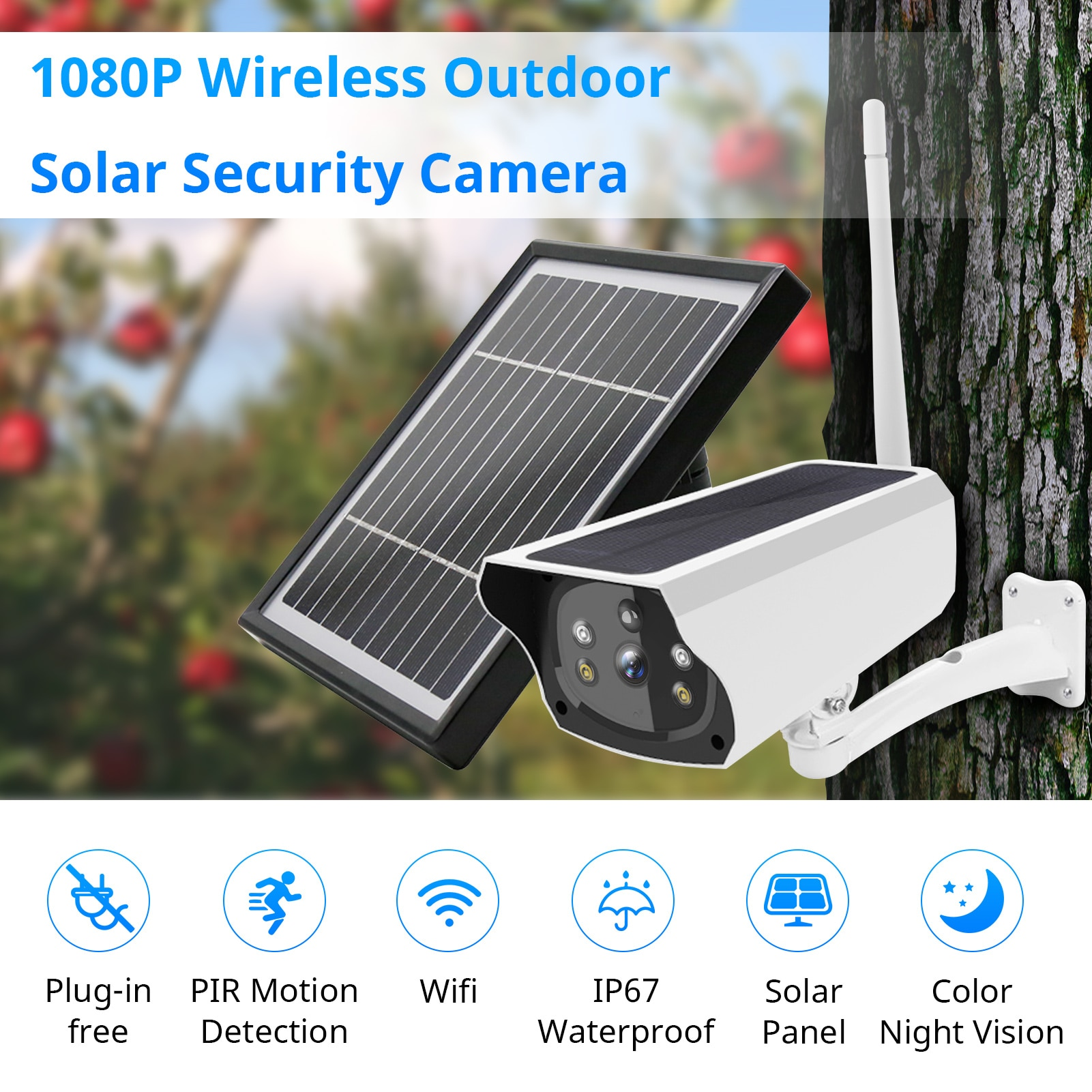 Outdoor Solar Security Camera Wireless Rechargeable Battery 1080P Home Surveillance Camera Support Night Vision Motion Detection