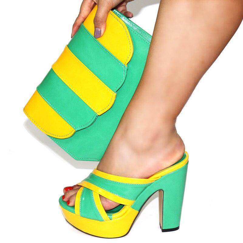 Doershow الأحذية الايطالية مع مطابقة أكياس مجموعة إيطاليا الأفريقي المرأة حزب أحذية و حقيبة مجموعات الأصفر اللون النساء الأحذية!!HGF1-11