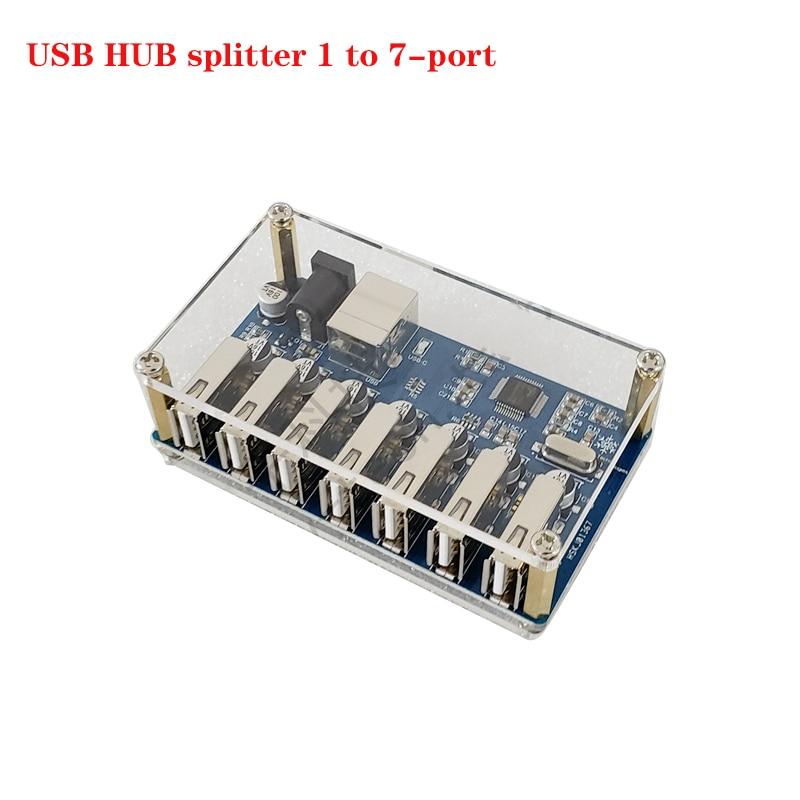 Divisor de concentrador USB de 1 a 7 puertos, módulo con fuente...