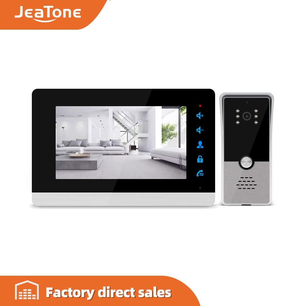 Videoportero Jeatone de 7 pulgadas, sistema de teléfono de puerta, ángulo amplio 600TVL, visión diurna y nocturna, soporte inglés y ruso