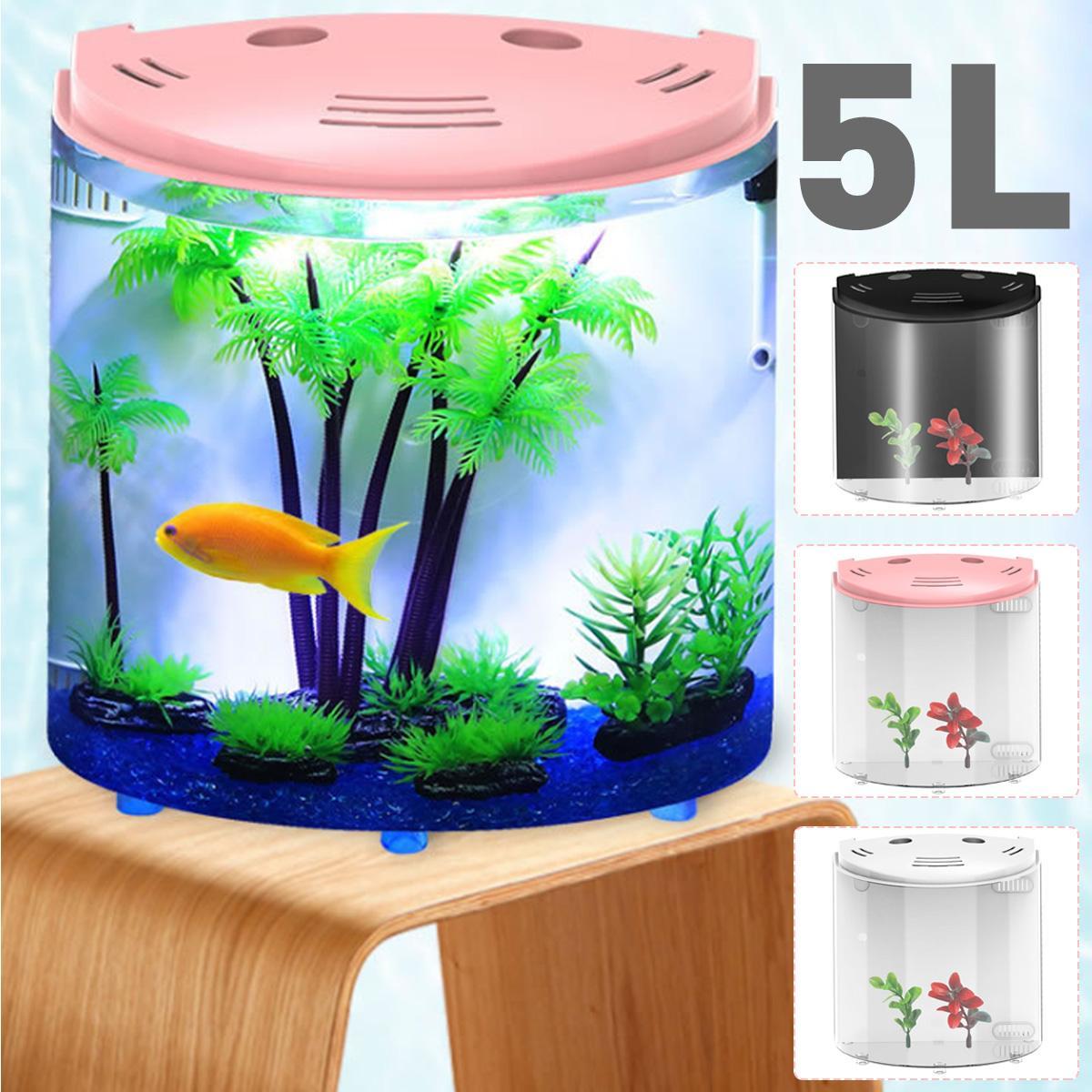 5L Fish Tank Aquariums USB LED Half Moon Mini Aquarium Acrylic Large Capacity Home Office Desktop Aquatic Fish Pet Supplies