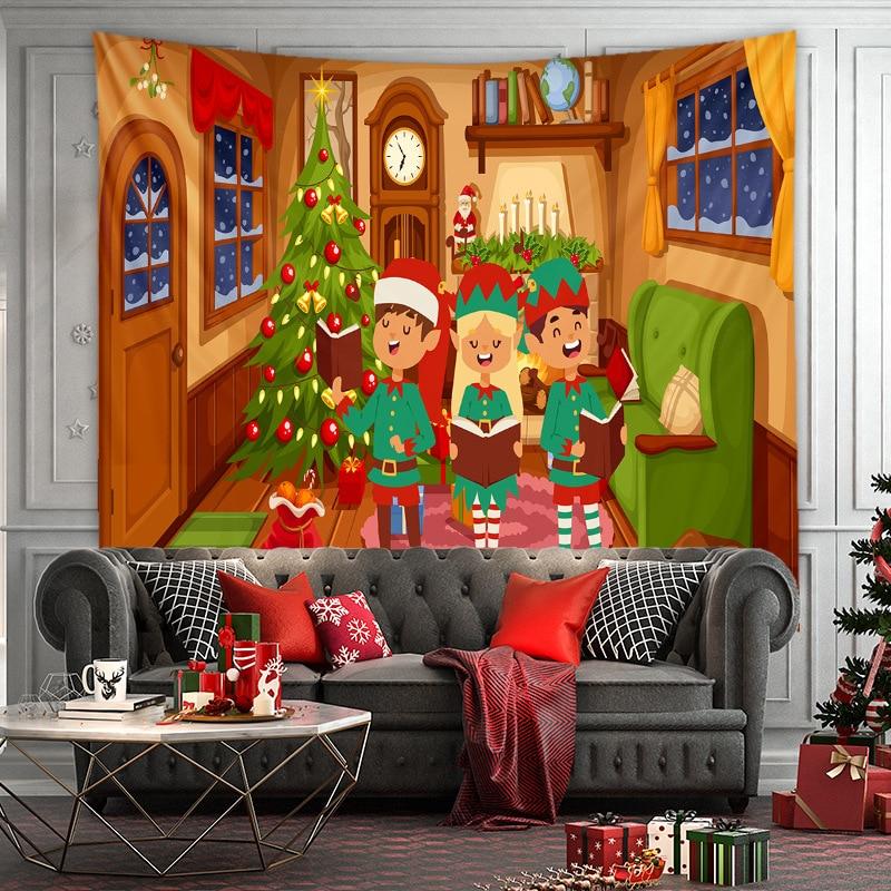 Tapiz de ventana de navidad, decoración de pared, arbol de navidad grande,...