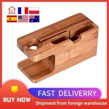 2-in-1 Real Bamboo wood Desktop Stand for iPad Tablet Bracket Docking Holder Charger for iPhone Char