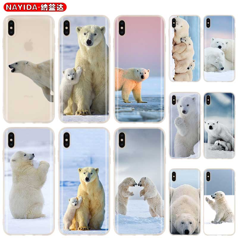 Baseus claro caso de la cubierta para iPhone 11 Pro X XR XS Max 8 7 6s 6 Plus 5 5s SE 4s Funda Coque de silicona suave estuche lindo oso Polar