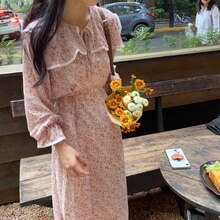 Korean Chic Super Beautiful Gentle Girl Sweet Sailor Collar Lace-up Waist-Controlled Slimming Floral
