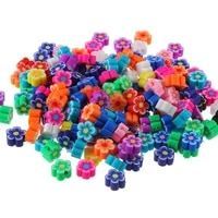 100pcslot mixed color flowers soft ceramic sliced handicrafts bracelets chain beaded jewelry accessories diy loose beads