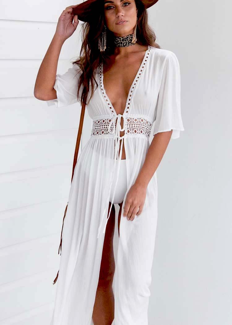 Summer Women Beach Dress Female Solid Bikini Cover Ups Short Sleeve V-Neck White Pareo Dress Wear Swimwear Plus Size XXXL 2020