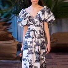 AELESEEN المدرج موضة نفخة كم فستان 2020 الربيع الصيف عالية Qaulity حجم كبير فستان 3XXL زهرة طباعة الخامس الرقبة فستان طويل