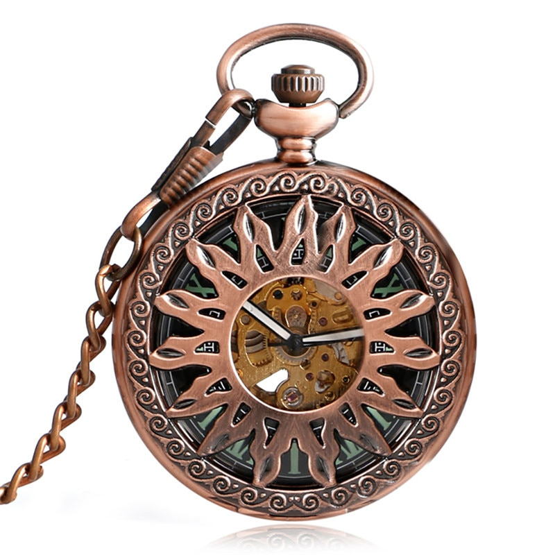 Red Copper Hollow Out Case Unisex Automatic Mechanical Pocket Watch Sunflower Design Roman Number Dial Pendant Chain Clock Gift