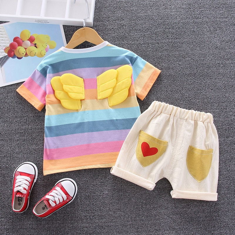 casul girls t shirt shorts two sets lace jeans shorts pants summer top tee white t shirt pure cotton butterfly cartoon clothes Summer Baby Girls Clothes Sets Rainbow T-shirt + Shorts Two-piece Sets  Toddler Girls Clothes Kids Cotton Comfortable Sets