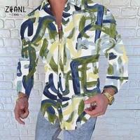 autumn casual satin silk tops masculina man stylish button blouse fashion striped men shirts long sleeve turn down print shirt
