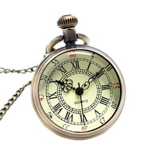 Bronze Roman Pocket Watch Antique Numerals Chain Necklace Pendant Quartz AUG889