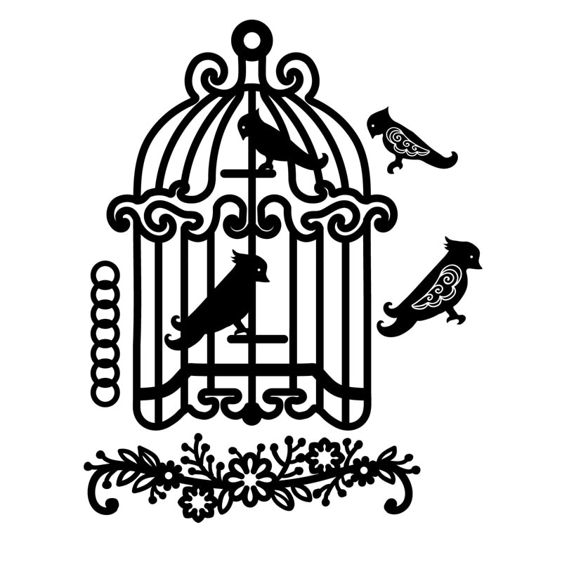 YaMinSanNiO Birdcage Metal Cutting Dies Flower Birds DIY Etched Dies Craft Paper Card Making Scrapbooking Embossing New 2019