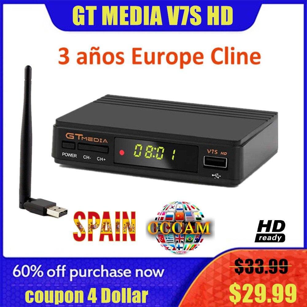 Heißer DVB-S2 Freesat V7 hd Mit USB WIFI FTA TV Empfänger gtmedia v7s power durch freesat Unterstützung Europa cline CCCAM netzwerk Sharing