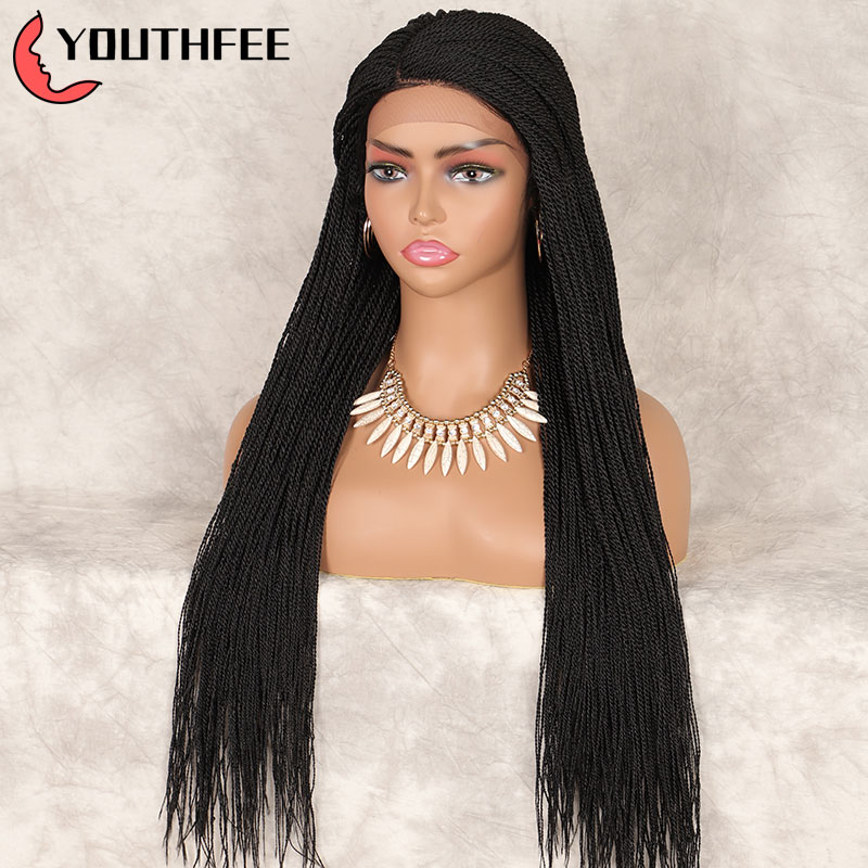 """Youthfee Briaded Wig Synthetic Lace Wigs With Baby Hair 30"""" Thin Twist Braid Wig For Black Women L Part Lace Front Wig"""