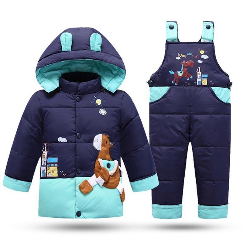 بدلة شتوية للأطفال, بدلة شتوية للأطفال طقم ملابس أطفال سترة سفلية وزرة للبنات معطف بقلنسوة + بنطال معطف للرضع