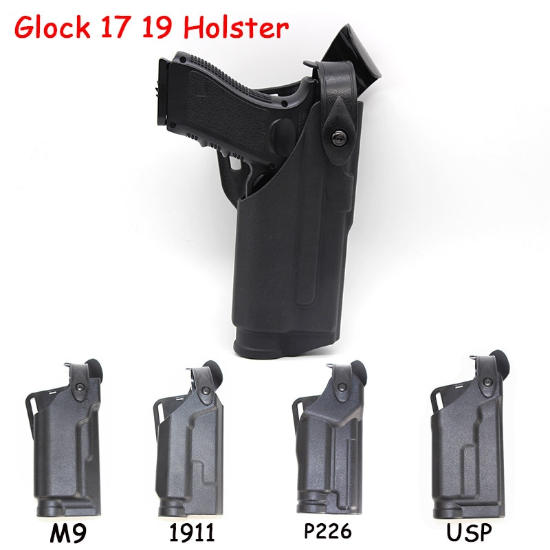 Pistolera táctica Airsoft para cinturón para Glock 17 19 M9 1911 P226 USP cintura militar caza combate pistola funda de pistola con linterna