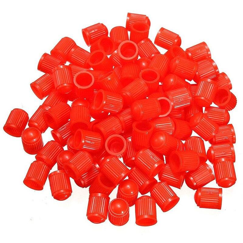 100 pces tampas de válvula de plástico tampa do pneu capa de válvula para a motocicleta do carro vermelho