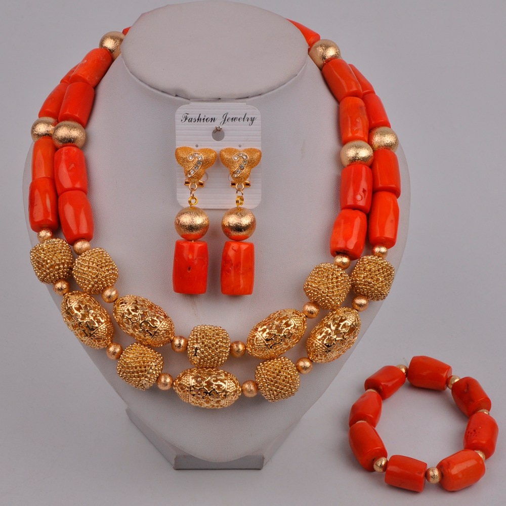 Nigerian Wedding Coral Beads Jewelry Set African Bridal Set Coral Necklace Jewelry Set  319-G2