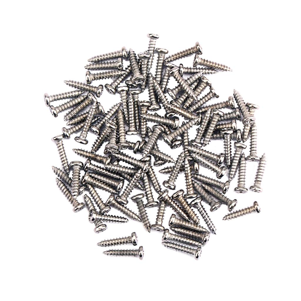 100 Pieces Iron Tuning Peg Tuner Mounting Screws for Guitar Bass Ukulele Mandolin Parts M2.2