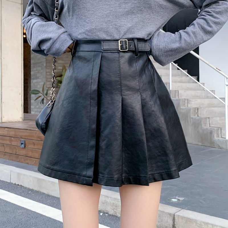 Retro Pu Leather Skirt Y2k Women 2021 Summer Streetwear Gothic Short Skirts Girl Casual Fashion Elastic Ball Gown dark academia