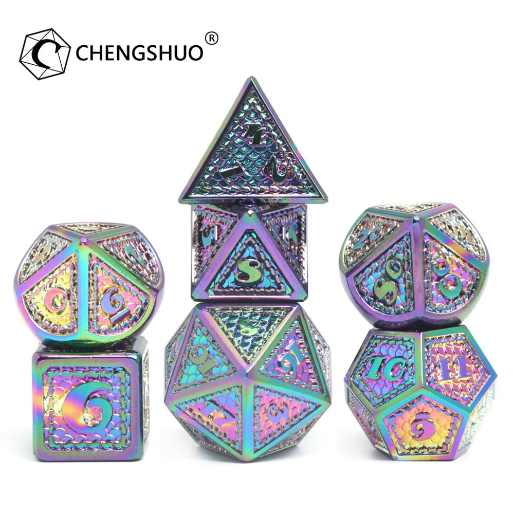 CHENGSHUO rpg dice set.Metal dice.Rainbow dragon dice, a magic dice that can give adventurers good luck.Used for DND COC.D20 6