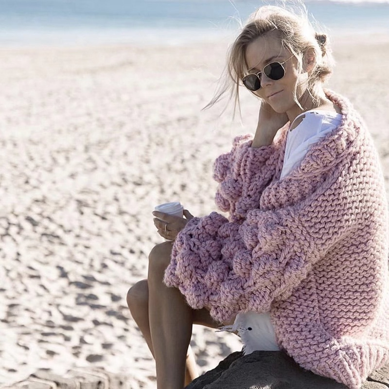 Winter Autumn Warm Lantern Sleeves Sweater Knitted Cardigan Sweater Coat Women Large Knitted Sweater Cardigan Jumper Coat 2019 enlarge
