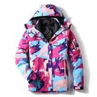 woman winter 3 in1 detachable inner breathable waterproof ski jacket outdoor hiking snowboard jackets warm cotton ski wear coat