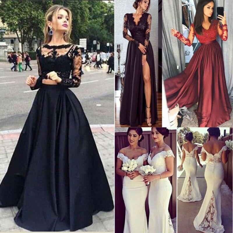 Femmes demoiselle dhonneur mariage longue robe dentelle Patchwork Sexy mode soirée robe de bal robe pleine