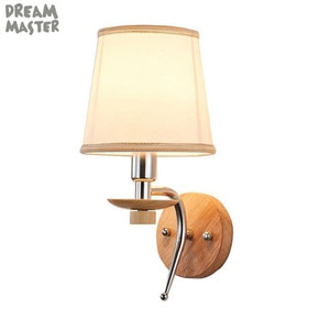 Modern Wooden Base Wall Light,Bedside Wall Mount Light with Fabric Lampshade,Indoor Wall Fixture for home hotel aisle wood lamp