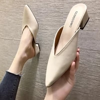 2020 new summer slippers square heel shoes high heels women pumps slides sandals slippers flat slippers for women hot
