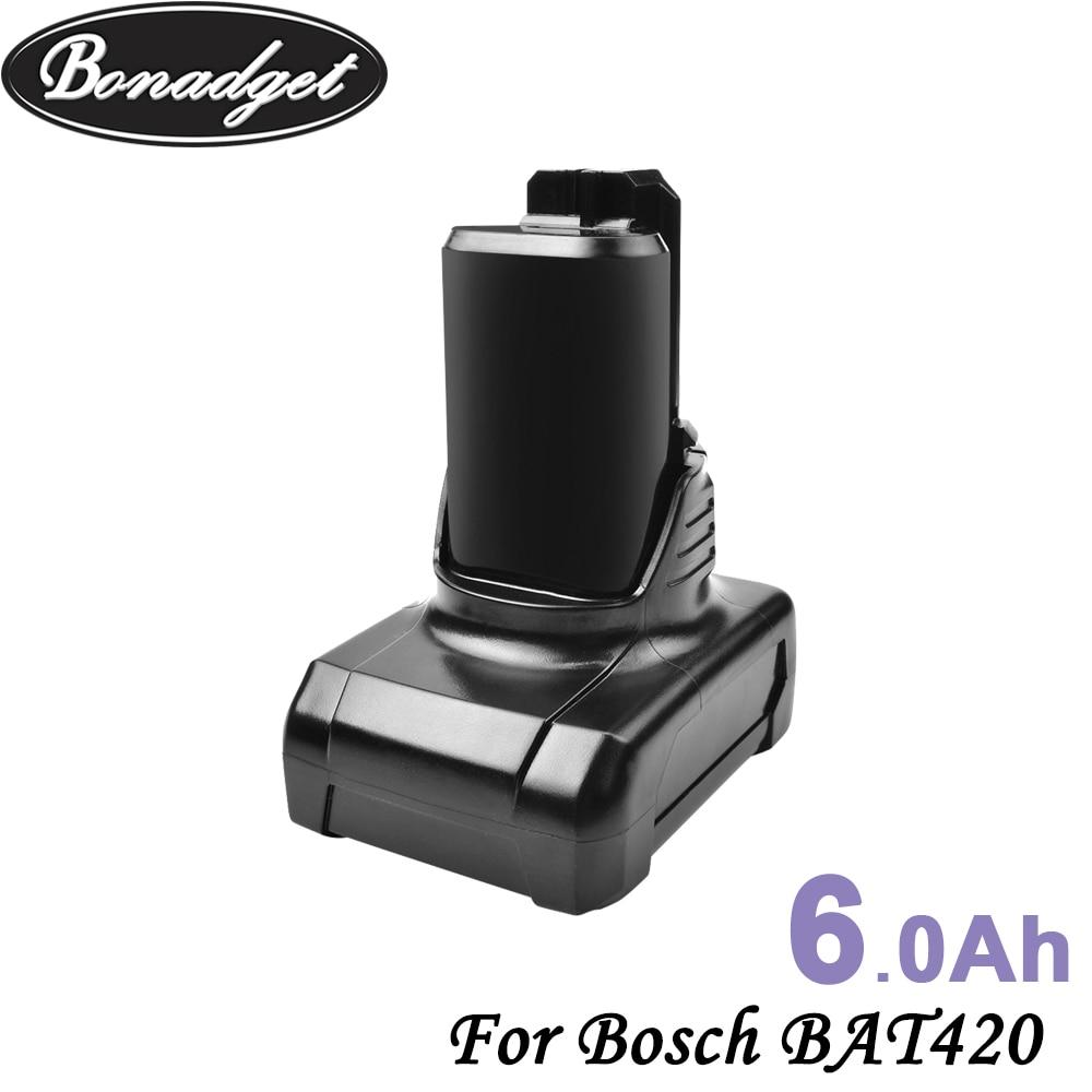 Bonadget 2Piece 6.0Ah 12V Li-ion BAT420 BAT411 Rechargeable Battery For Bosch BAT411 BAT420 BAT412 2607336013 2607336014 Battery