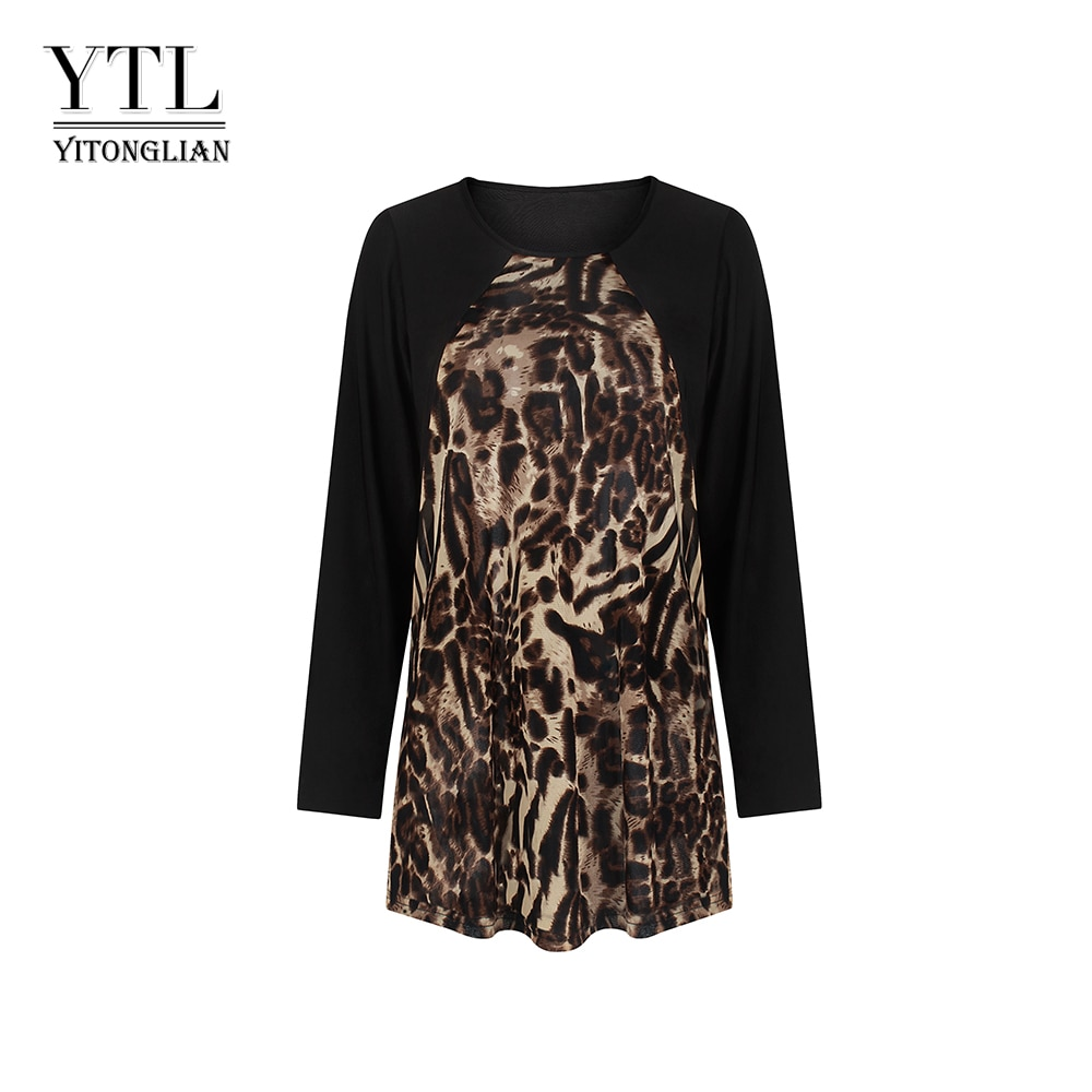 Yitonglian Long Sleeve Round Collar Leopard Printed Patchwork One-piece Tunic Top Female Casual Fancy Blouse Shirt  W020