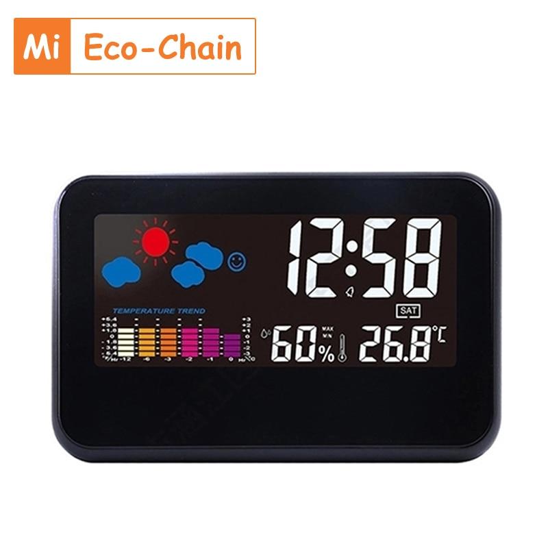 ساعة منبه ذكية Mi Eco-Chain 2021 ، ساعة ملونة مع التحكم الصوتي ودرجة الحرارة والرطوبة وتوقعات الطقس ومنبه