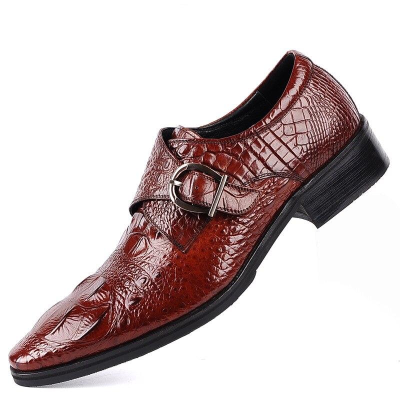 New Fashion Mens Dress Shoes PU Leather Crocodile Buckle Lace-up Italian Stylist Flat Formal Oxfords