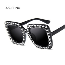 Oversize Sunglasses Top Rhinestone Luxury Brand Designer Sunglasses For Women Square Shades Women Fa