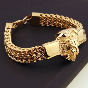 """15mm*8.66"""" Men's Jewelry Figaro Link Chain Bracelet Bangle Stainless Steel Gold Lion Head Cuff Bangle Christmas Gift Top Design"""