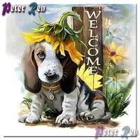 5d diamond painting puppy sunflower welcome diy squareround rhinestones cross stitch diamond embroidery handmade children gifts