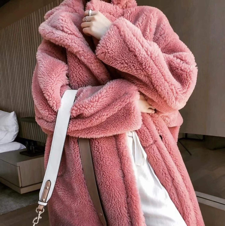 Pink Long Teddy Bear Jacket Coat Women Winter 2020 Thick Warm Oversized Chunky Outerwear Overcoat Women Faux Lambswool Fur Coats enlarge
