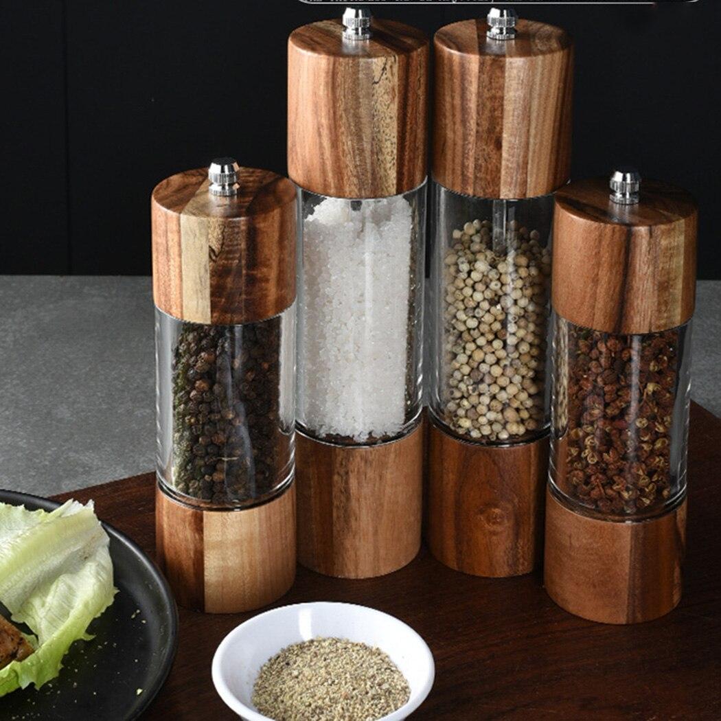 Ручная мельница для соли и перца из дерева акации, 1 шт.