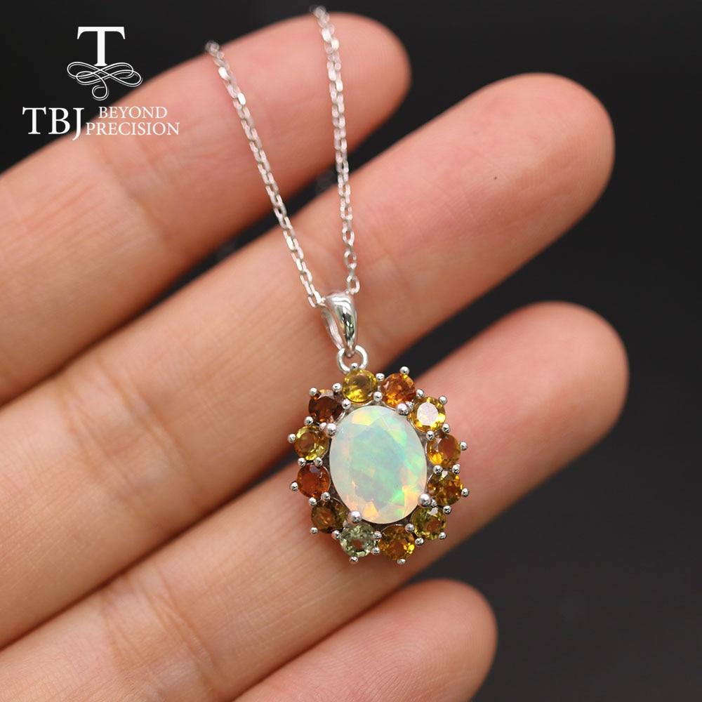 TBJ natural opal cut gemstone pendant oval cut 8*10mm real brazil tourmaline fine jewelry 925 sterling silver for women  gift