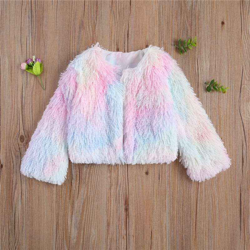 Baby Kids Girls Boys Plush Coat Fall Top Decorative Dye Printed Long-Sleeve Warm Winter Blouse Outerwear Clothing Snowsuit Bebes