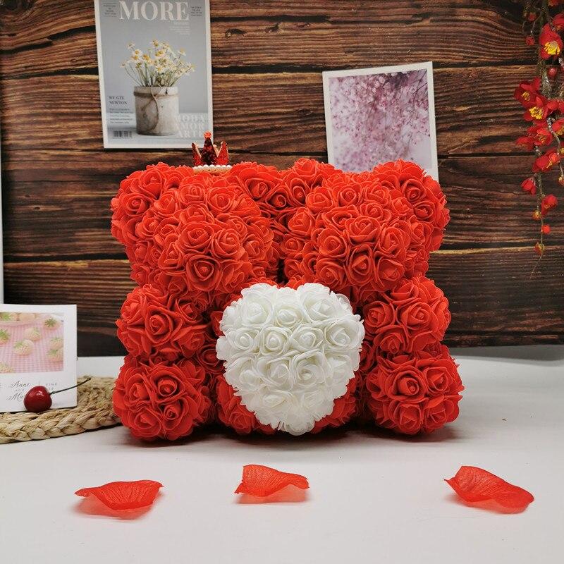 2020 novo 25-35cm dois rosa urso flor artificial presente do dia dos namorados para namorada esposa rosa decoração aniversário de casamento