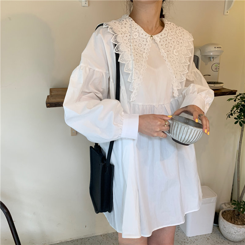 Alien Kitty Sexy White Chic Sweet Fashion Women Cute 2020 Streetwear Loose Girls Lace Peter Pan Collar Mini Dresses Vestidos