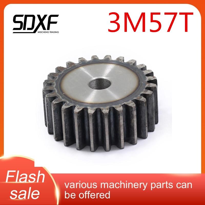 Una unidad de 3M, engranaje plano 45 # acero, 57T, los agujeros de mecanizado deben ser mecanizados por usted mismo