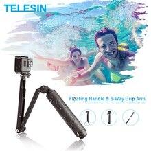 TELESIN Impermeabile Selfie Stick Floating Hand Grip + 3-Way Braccio di Presa Monopiede Pole Treppiede per GoPro Xiao YI SJCAM DJI Osmo Action