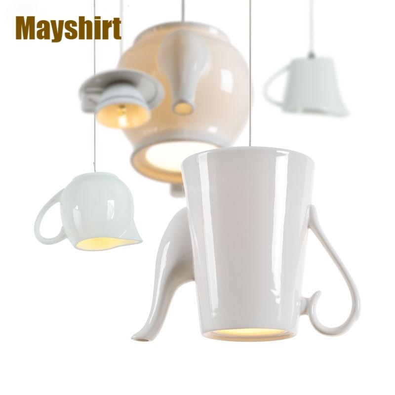 Luces colgantes chinas modernas de cerámica para café, lámpara colgante nórdica para taza de té, cocina, lámpara colgante, accesorios de iluminación para comedor, decoración del hogar