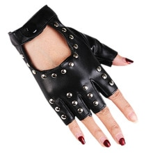 Women Rivet Stage Performance Nightclub Punk Leather Half Finger Gloves Pole Dance Personality Hip H