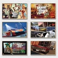 hot game gta 5 painting on canvas posters and prints cuadros wall art pictures for bedroom game room decorative picture