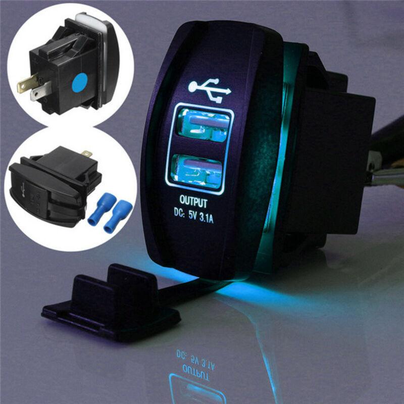 Cargador de energía Dual USB 3,1 Carling ARB Rocker interruptor azul LED luz coche barco 12-24V impermeable a prueba de polvo